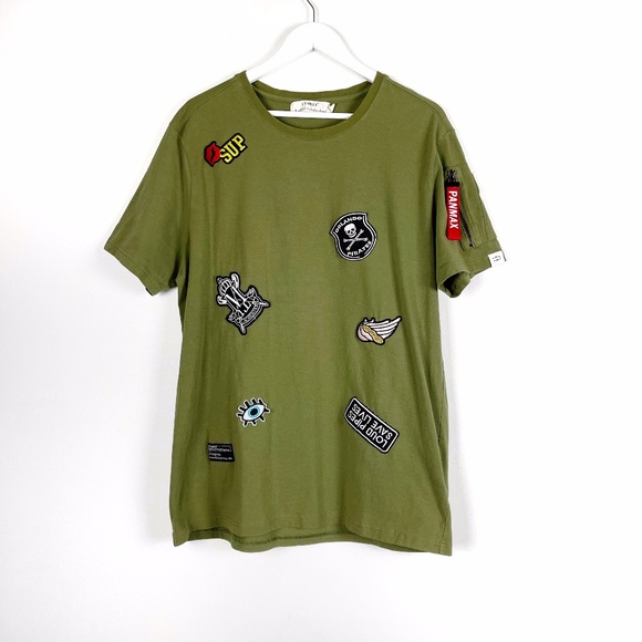 Panmax & Paris Olive Green Tee with Patches